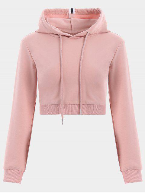 trendy Cropped Drawstring Sports Hoodie - PINK M Mobile