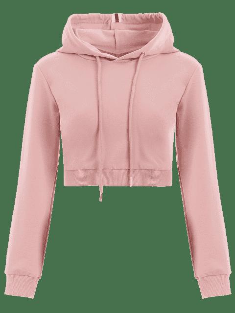 fashion Cropped Drawstring Sports Hoodie - PINK S Mobile