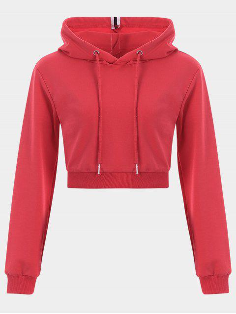shop Cropped Drawstring Sports Hoodie - RED M Mobile