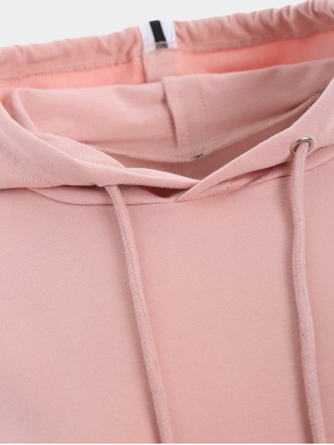 best Sporty Drawstring Hoodie with Pants - PINK M Mobile
