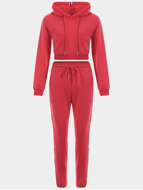 ladies Sporty Drawstring Hoodie with Pants - RED S Mobile