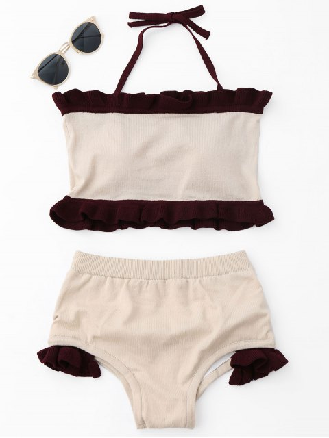 ladies Ruffle Knit Halter Bikini Set - BEIGE ONE SIZE Mobile