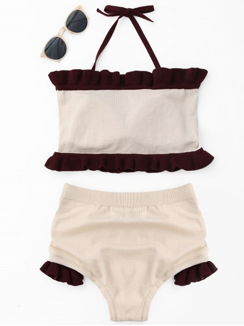 ladies Ruffle Knit Halter Bikini Set - BEIGE ONE SIZE Mobile