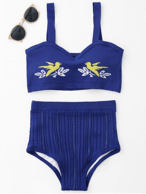 best Jacquard Knit Bikini Set - ROYAL ONE SIZE Mobile