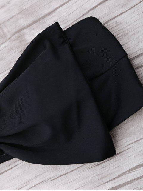 new Padded Bowknot Bandeau Bikini Set - BLACK L Mobile