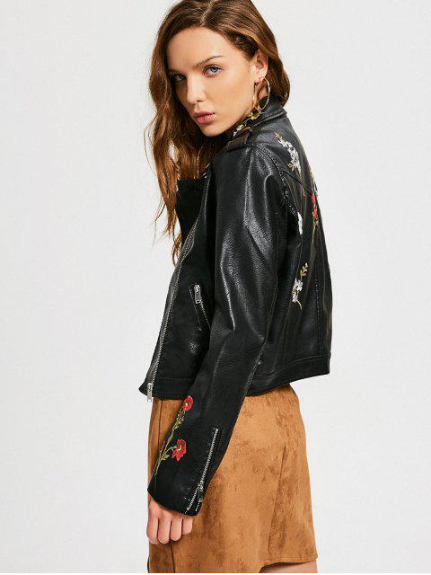 shop Floral Patched Zippered Faux Leather Jacket - BLACK M Mobile