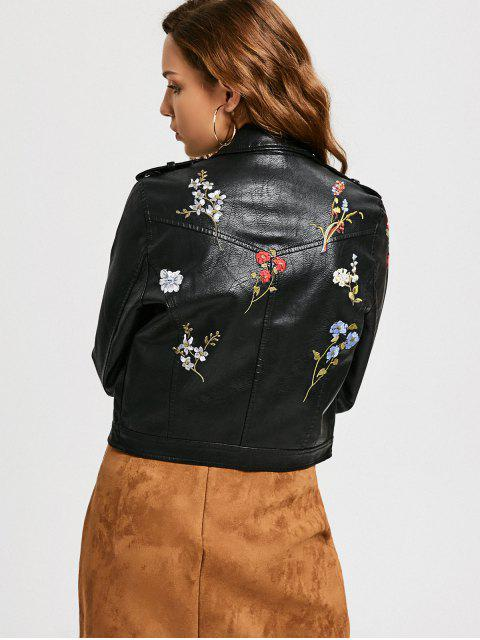 fashion Floral Patched Zippered Faux Leather Jacket - BLACK L Mobile