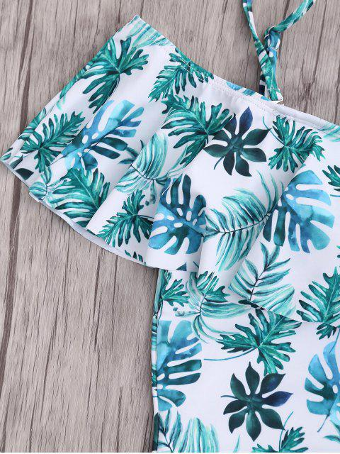 best Plus Size Ruffle Leaf Print One Piece Swimsuit - COLORMIX XL Mobile