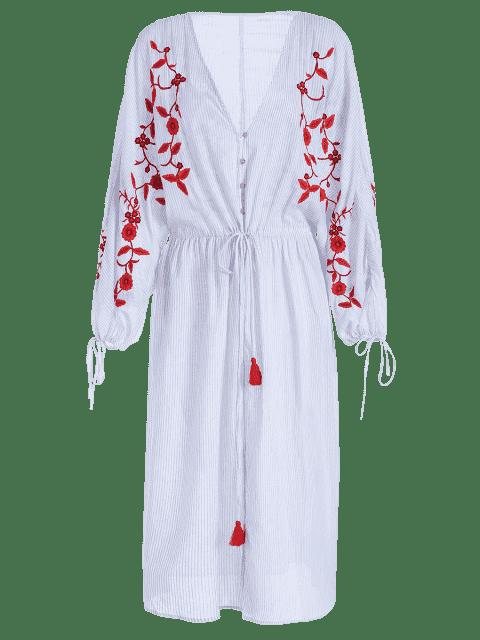 hot mbroidered Stripes Front Slit Midi Dress - STRIPE L Mobile