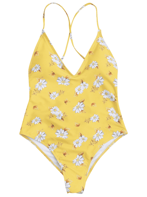 shops Floral Cross Back High Cut Ruched Swimwear - YELLOW S Mobile