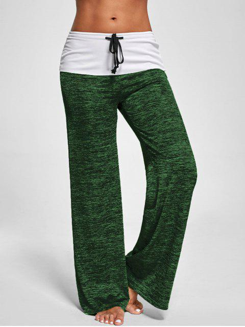 latest Foldover Heather Wide Leg Pants - SHAMROCK M Mobile