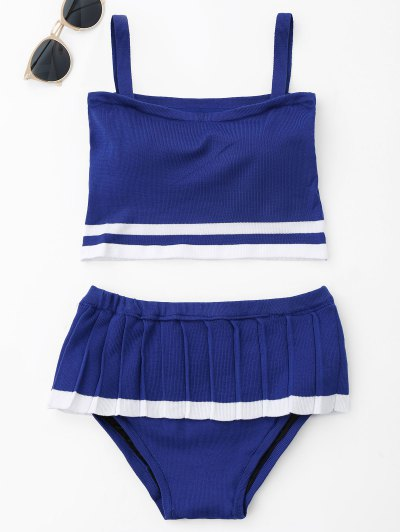 Two Tone Ruffle Knit Bikini Set - Blue