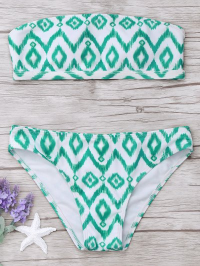 Argyle Bandeau Bikini Set - White And Green L