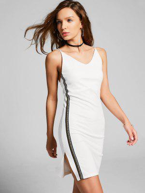 Slit Side Stripe Crisscross Bodycon Vestido - Blanco M