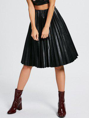 High Waist Pleated Faux Leather Skirt - Black