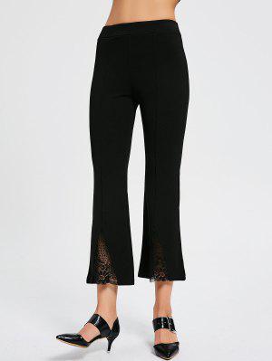 Lace Panel High Waist Boot Cut Pants - Black Xl