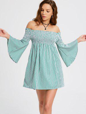 Smocked Striped Off Shoulder Mini Dress - Stripe M