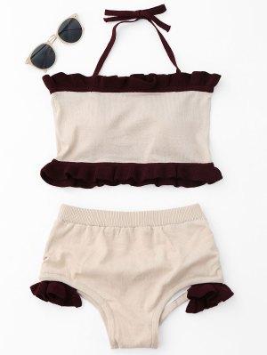 Ruffle Knit Halter Bikini Set - Beige