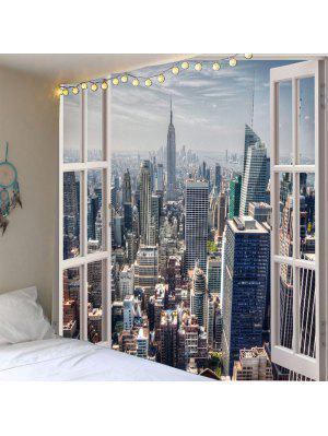 Faux Window Building Print Waterproof Wall Tapestry