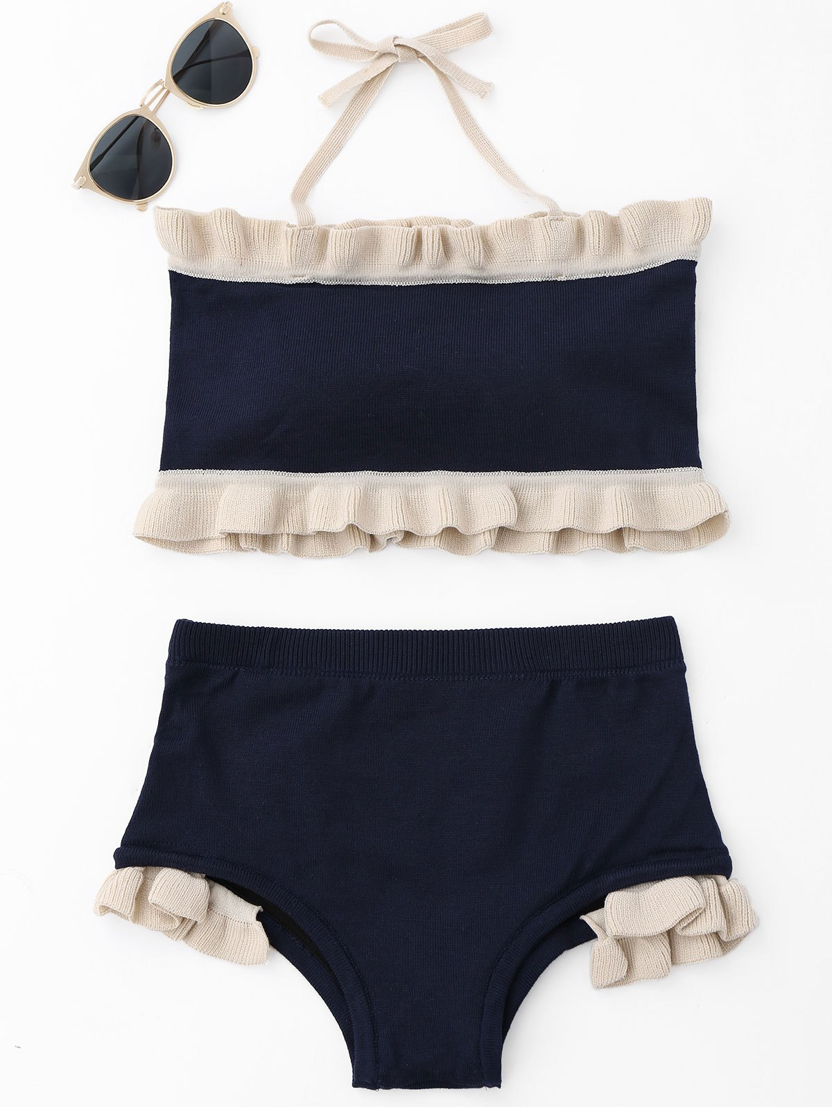 Ruffle Knit Halter Bikini Set 221667502