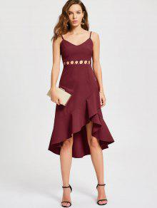 فستان كشكش قطع مثير نصف رسمي ميدي - نبيذ أحمر L