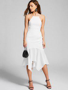Lace-up Vestido De Fiesta De Sirena Texturizada - Blanco M