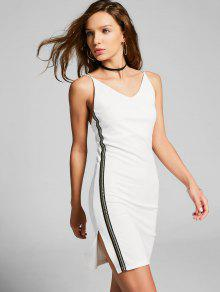 Slit Side Stripe Crisscross Bodycon Dress - White S