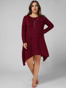 8667dbd041a 2019 Plus Size Long Sleeve Asymmetric Dress With Pockets In WINE RED ...
