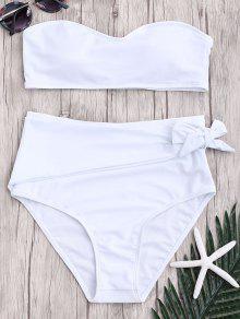 Conjunto De Bikini Anudado De Bikini Anudado De Cintura Alta - Blanco M