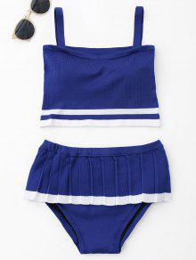 Conjunto De Bikini De Punto De Dos Tonos Volante - Azul
