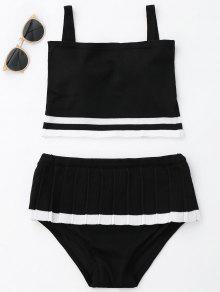 Conjunto De Bikini De Punto De Dos Tonos Volante - Negro