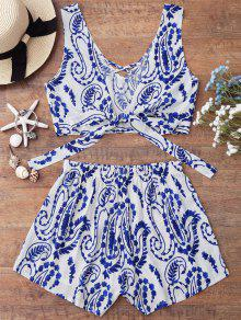 Knotted Strappy Crop Top With Patterned Shorts - Blue And White S