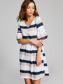 Flare Sleeve Cut Out Striped Dress - Multi S