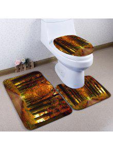 3 قطع الفانيلا الخريف عدم الانزلاق المرحاض البساط مجموعة - بني فاتح - مابل
