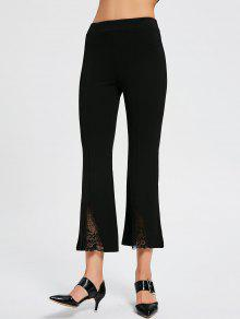 Lace Panel High Waist Boot Cut Pants - Black Xl