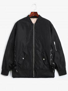 Lace Up Zipper Bomber Jacket - Black S