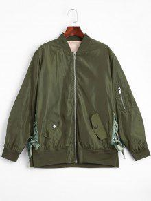 Lace Up Zipper Bomber Jacket - Army Green S