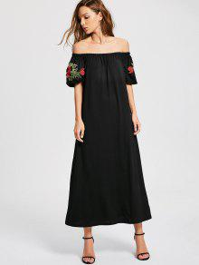 Vestido Floral Con Remiendo De Hombro - Negro L
