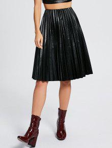 High Waist Pleated Faux Leather Skirt