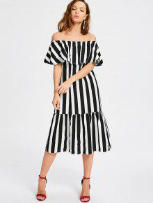 Off The Shoulder Striped Flounce Dress - Black