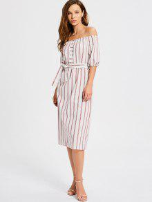 Off The Shoulder Belted Striped Dress - Stripe