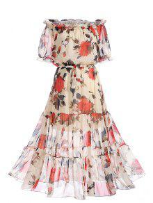 الشيفون قبالة الكتف فستان طباعة الأزهار - الأزهار M