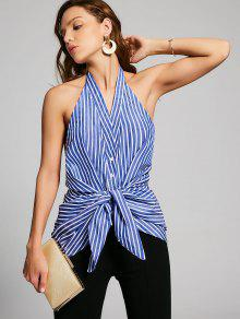 Stripes Bow Tie Backless Tank Top - Stripe M