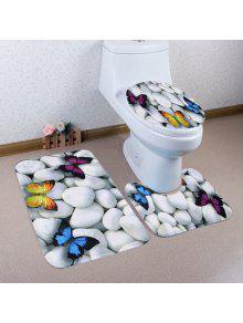 حصوه فراشة نمط 3 قطع المرحاض الحصير مجموعة - رمادي أبيض