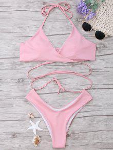 Padded Halter Wrap Bikini Set - Light Pink L