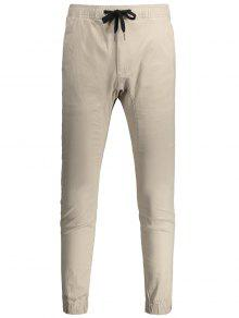 Casual Drawstring Jogger Pants - Light Khaki 32