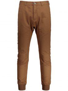Zaful Brown Zip Fly Jogger Pants
