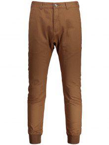 Men Casual Zip Fly Jogger Pants - Brown 32