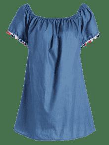 Borlas Denim Hombro Mini Vestido Azul Del M Overlay Fuera TwfTd
