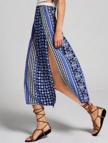 High Slit Tribal Print Bohemian Skirt - Multi S